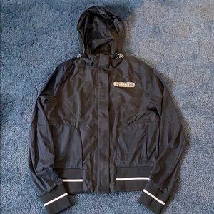 Peloton rain jacket with zip hoodie